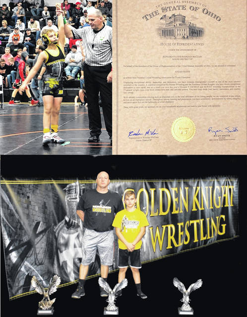 Northmor seventh grader Ayden Reyes was recognized by the State of Ohio House of Representatives and received a certificate of accomplishment for winning both the OHWAY State tournament and NUWAY Nationals for the last three years for his age and weight class while wrestling for Northmor. Pictured above are (top left, clockwise), Reyes getting his arm raised after a match, his certificate of accomplishment and him standing with Northmor head wrestling coach Scott Carr and his trophies. Reyes also is an honor roll student at Northmor.