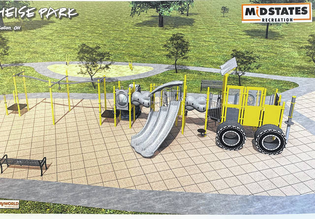 Tom O'Leary Mayor Tom O'Leary shared a glimpse of the new playground equipment to be installed at Heise Park this coming summer. The City acquired Freese funding as well as their own funds to provide the new play area which is designed as a tribute to Galion's history of road equipment manufacturing in days gone by.