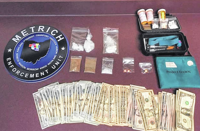 A search warrant in Chesterville produced approximately 39.5 grams of suspected meth and approximately 15.5 grams of suspected heroin, along with cash. Four people were arrested.