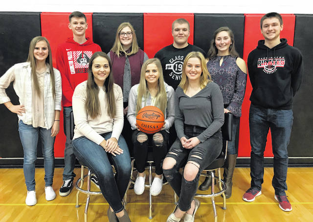 Pictured above are members of the 2019 Cardington-Lincoln High School Winter Sports Night court. Back row (l-r): freshman attendant Karsyn Edwards, senior king candidate Logan Doubikin, sophomore attendant Camrie Meyers, senior king candidate Devin Speck, junior attendant Elizabeth Horton and senior king candidate Branden Steckel. Front row: senior queen candidates Delisa Goodman, Kynlee Edwards and Brianna McConnell.