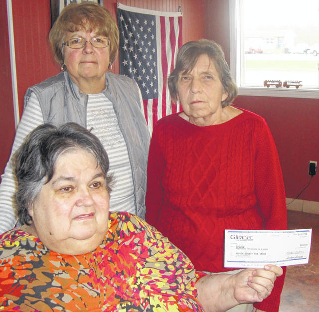 Marilyn Davis holds a check for the American Red Cross from the Gleaners Fraternal Insurance Society to the American Red Cross. Behind Marilyn is Rita Barton, president of the Gleaners, Chester Arbor and Nancy Foos, right, a member of Gleaners and the American Red Cross. She accepted the check.