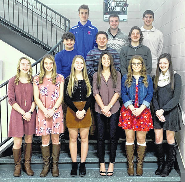 Highland 2019 Winter Homecoming Members are top row, from left: Noah Dado, Tate Tobin, Chase Carpenter. Middle row: Jon Jensen, Cam Cutrone, Chase Ray. Bottom row: Brylinn Tuggle, Brooklyn Baird, Layla Grogg, Mariah McDaniel, Mary Schwartz, Cassady Sagar.