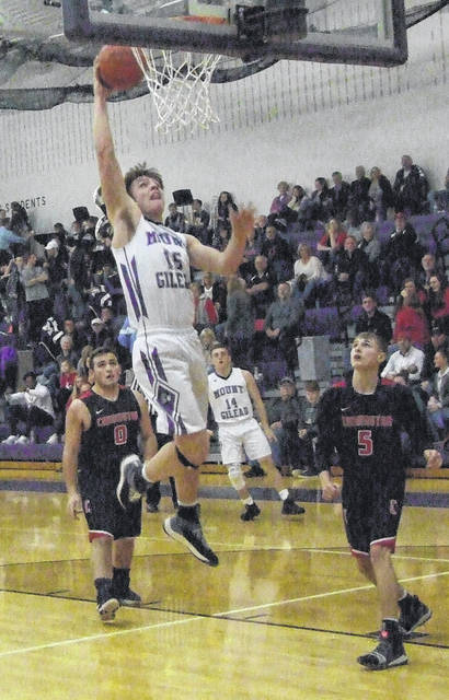 Mason Mollohan goes up for a quick two points against Cardington, as Mount Gilead defeated the visiting Pirates Friday night.