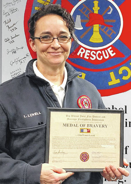 The Big Walnut Joint Fire District presented Chief Lauri Lovell with the Medal of Bravery for demonstrating exceptional bravery and physical stamina during an emergency scene last month.