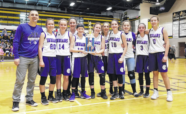 Courtesy Photo The Mount Gilead eighth grade girls' basketball team had an undefeated season this winter, culminating in a KMAC championship win over Cardington. Pictured are (l-r): coach Devon Sergent, Rebeka Clark, Alexis Baldwin, Kyndra Irwin, Tatum Neal, Mikala Harris, Grace Shipman, Maddison Hursey, Sydnie Salisbury, Madilyn Elson and Candace Millisor.