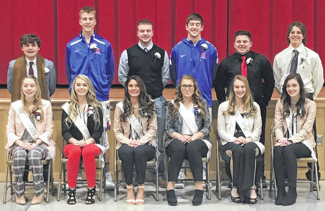 Chase Carpenter and Mary Schwartz, Highland's 2019 Winter Homecoming King and Queen. Bottom row, from left: Brylinn Tuggle, Layla Grogg, Mariah McDaniel, Mary Schwartz, Brooklyn Baird, Cassady Sagar. Top row: Jon Jensen, Noah Dado, Tate Tobin, Chase Carpenter, Cam Cutrone, Chase Ray.