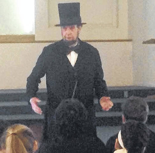 "Gerald ""Jerry"" Payn, an Abraham Lincoln presenter, spoke to Gilead Christian School students at both campuses on Friday morning. It was part of their President's Day program."