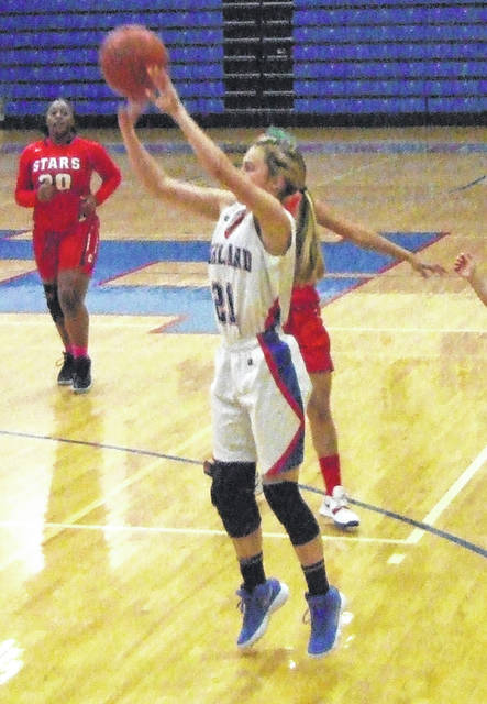 Brooklyn Baird goes up for a shot against Centennial Tuesday night in Highland's tournament-opening 45-25 win.