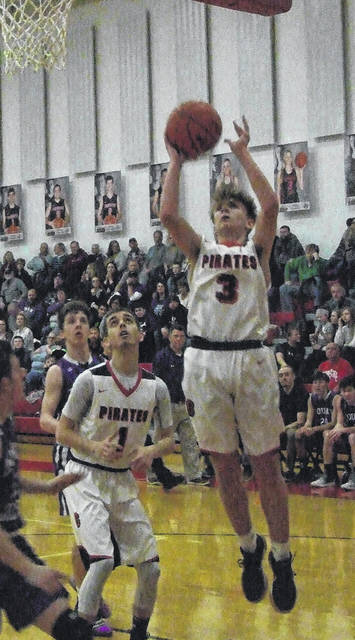 Danny Vaught goes up for two points in Cardington's Friday night win over Mount Gilead.