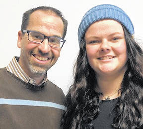 Madison Fry, Gilead Christian senior, and Principal Bryon Potteiger.