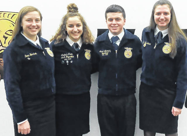 These Cardington FFA members competed in the recent public speaking contest. From left, Emma Burchett, who competed in the State Advanced Creed Speaking contest, Isabelle Crum, Jacob Levering and Beth Hardwick, the latter three joining Burchett in competing at the district level.