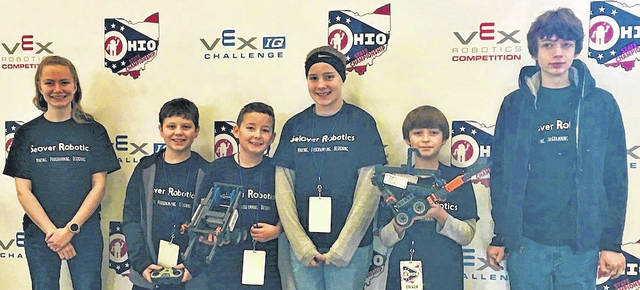 Coach Sarah Keefer, Alex White, Micah McLeod, Cara Chamberlain, Andrew Hebauf and coach Matthew Hebauf at the 2019 VEX IQ Elementary State Championship in Marion.