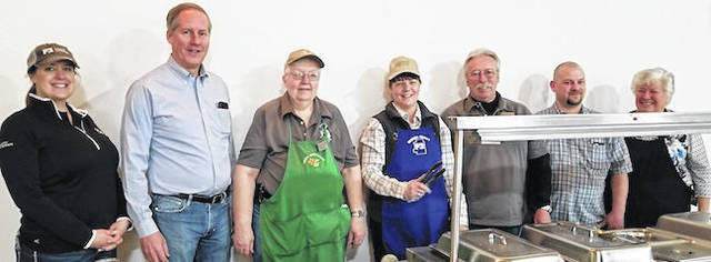 Some of those who helped serve the breakfast at the Farmers Appreciation breakfast were from left: Abra Dunn, director of the Crawford, Marion, Morrow and Richland Counties of the Farm Bureau, Tom Whiston, Eddie Lou Meimer, Pat Davies, Warren Davis, Tom Smith and Kathy Gerasimof, who helped cook the breakfast. Officials not pictured are Kim Bood, Dixie Shinaberry, State Rep. Riordan McClain and Dale Minyo and cook Angie Bush.