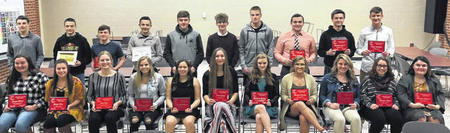 Pictured are the Cardington-Lincoln High School winter sports awards recipients. Back row (l-r): Michael Rose, Draven Hubley, Joe Denney, Jacob Belt, Ryan Speck, Danny Vaught, Trey Brininger, Dylan Goodman, Branden Steckel and Logan Doubikin. Front row: Laynee Wilson, Paige Artz, Paige Clinger, Kynlee Edwards, Shaylynn Morris-Montgomery, Casey Bertke, Madison Brehm, Kiersen George, Caitlyn Sherman, Morgan Lehner and Mikaela Osborne. Not pictured are Addie Wilhelm, Hannah Wickline and Jarred Wardlaw.