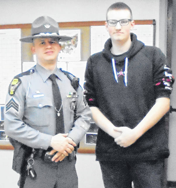Evan Collins job shadowed Sgt. Joshua Stryker at the Ohio Highway Patrol Office where Evan learned about daily routines, accidents scenes, investigations and becoming a trooper.