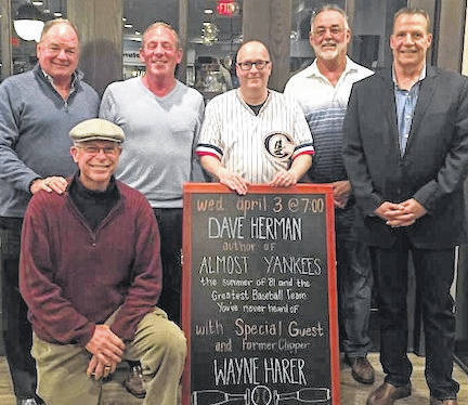 Dave Herman with former Clippers Players at an event at Gramercy Books in Bexley publicizing Herman's book. From left, are, Mark Letendre (trainer) Bruce Robinson, Wayne Harer, J. David Herman, Jim Lewis and Paul Boris.
