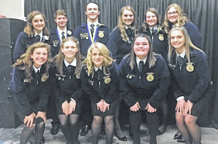 Cardington FFA officers for 2019-2020 are, front row, from left: Hazel Jolliff, Cheyenne Skaggs, Alexis Brook-Hobbs, Mikaela Osborne and Brooke Clapham. Back row: Isabelle Crum, Liam Warren, Brydon Ratliff, Grace Struck, Tess Ruehrmund, Camrie Meyers.