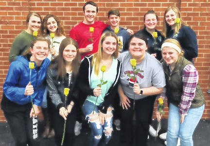 Shown are, front row from left: Hazel Jolliff, Cheyenne Skaggs, Brooke Clapham, Mikaela Osborne, Alexis Brook-Hobbs. Back row: returning officers Grace Struck, Isabelle Crum, Brydon Ratliff, Liam Warren, Tess Ruehrmund, Camrie Meyers.