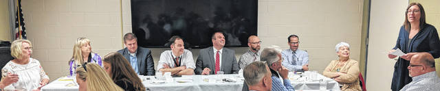 Panel of educators who discussed connecting students and employers, from left, Gerry Hartman, Deb Clauss, Nate Huffman, Brian Petrie, Chad Redmon, Ben Bethea, Bryan Potteiger and Mary Lee Barr.