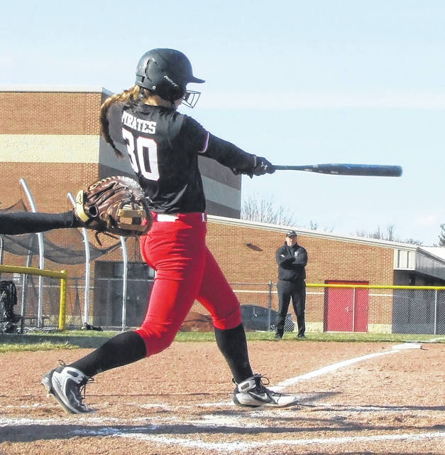 Casey Bertke was one of three Lady Pirates to hit home runs in Cardington's 14-3 win over East Knox Wednesday. She was joined by Baylee Adams, who blasted two, and Kierson George.