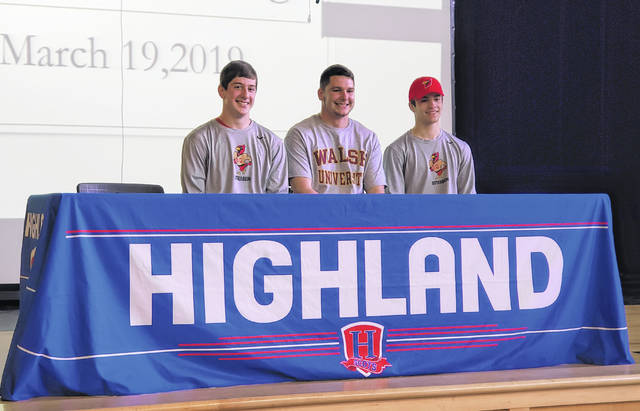 Highland senior football players (l-r) Chase Carpenter, Joey Scaffidi and Ian Taylor will all play in college. Carpenter and Taylor will attend Otterbein, while Scaffidi is going to Walsh.