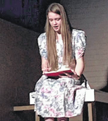 Opening night for The Diary of Anne Frank will be Friday April 12 at 7 p.m. Saturday and Sunday shows are 7 p.m. and 2:30 p.m., respectively. Tickets are $10 and can be purchased online at MorrowLittleTheater.org or can be purchased at the door. The Capital Theater has allowed MLT to do the production of this historical play at their location in downtown Mount Gilead. It taks you back to the era of the greatest generation as you follow the young soul of a Jewish girl in hiding for her life. You will discover what it is like living with several other people in a cramped upper room (attic), and constantly be worried for your life. There is a lot of local talent in this production and a great deal of work has been done to bring this play from page to stage. Pictured during rehearsal is Emma Scott as (older) Anne Frank.