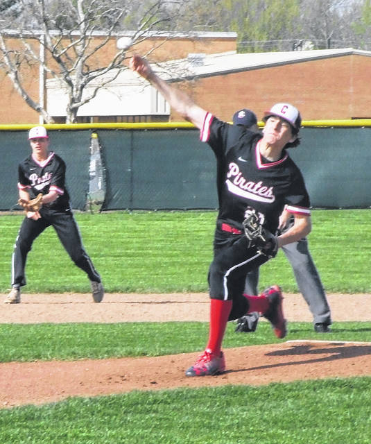 Cardington's Nico Wade unleashes a pitch in his team's Tuesday home game against Fredericktown.