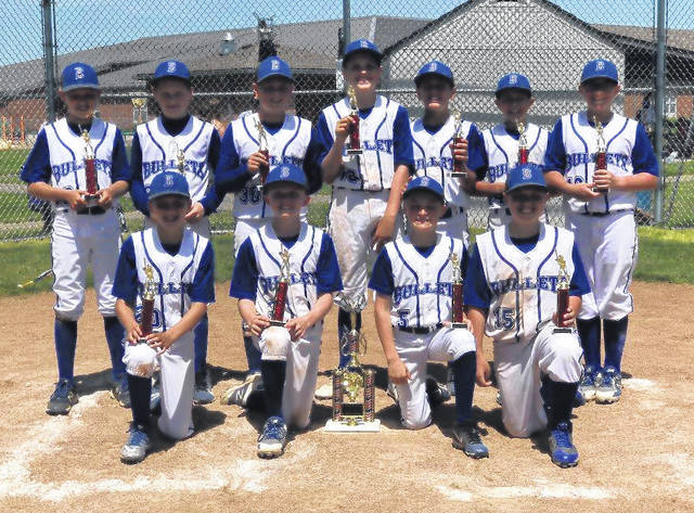 The Mid Ohio Bullets 11u team won the 12u division of the Eagle Classic Memorial Tournament by going 4-0 on the weekend. Their wins came over the Ohio Stingers, Triple Crown Royals, Bats Baseball Club and Westerville Naturals. The team improved to 25-1 on the season. Pictured are, back row (l-r): Caden Beck, Trevor Brubaker, Zach Church, Luke Chilicki, Brody Hatfield, Brady Taylor and Brady Pavlak. Front row: Cameron Patterson, Eli Snyder, Brady Carr and Jayden Collins.