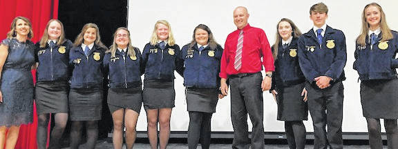 Highland FFA members enjoyed an awards banquet recently to celebrate their successes. Shown here is the officer team for 2018-19.