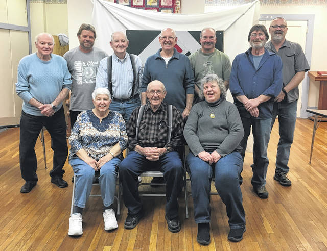 Pictured is the Edison United Methodist Church dartball team, which won first place in their tournament. Back row (l-r): Howard Butcher, Bruce Levings, Floyd Hawk, Cody Bedwell, Tom Halt, Jeff Hawk and Tony Smith. Front row: Janet Bedwell, Herb Fravel and Mary Jane Levings.