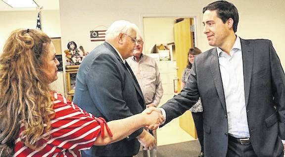 Ohio Secretary of State Frank LaRose visiting the Morrow County Board of Elections Tuesday, May 14.
