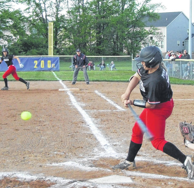 Cardington's Baylee Adams had two hits, including a two-run home run, to help her team top Amanda-Clearcreek by a 5-0 margin in Tuesday's district semifinal softball game.