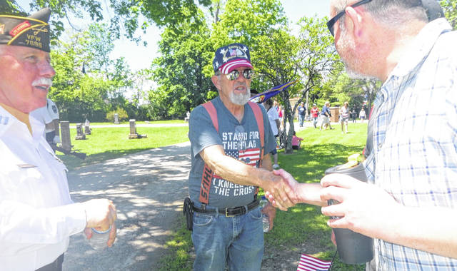 Veterans and their families were joined by the community to observe Memorial Day Monday afternoon at Rivercliff Cemetery in Mount Gilead. • More photos online at morrowcountysentinel.com