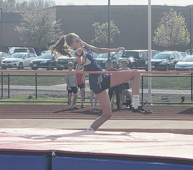 Isabela Schroeter won the high jump on Tuesday to help the MG girls' track team take a commanding lead after the first day of the KMAC championships.