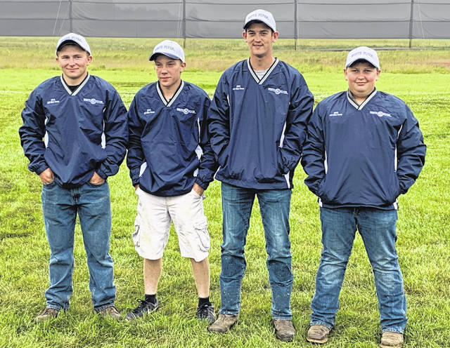 Pictured above are (l-r) Christian Miller, Ryan Denes, Alex McCafferty and Tuff Hutchins, who all made the Ohio State Trapshooting Association All-Ohio team. Denes, of Marengo, was the top scorer in the Sub-Junior class, while Hutchins (Fredericktown) also qualified in that class. Making All-Ohio in the Junior class were McCafferty and Miller, both of Marengo. A fifth area shooter, Ryan Minyo of Mount Gilead, who is not pictured, also made All-Ohio as the top scorer in the Junior Gold class.