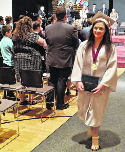 Kristen Mosher was one of 3 students to graduate May 31 from Gilead Christian School.