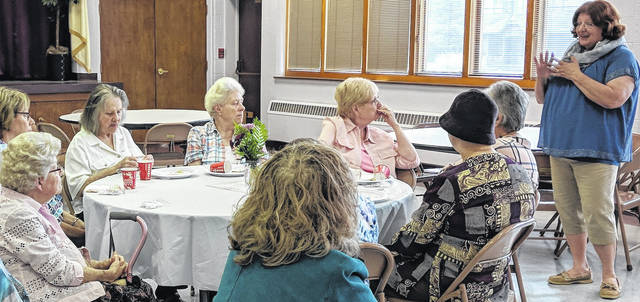 United Way Director Jodi Hayes speaks to United Methodist Women from several Morrow County Churches.
