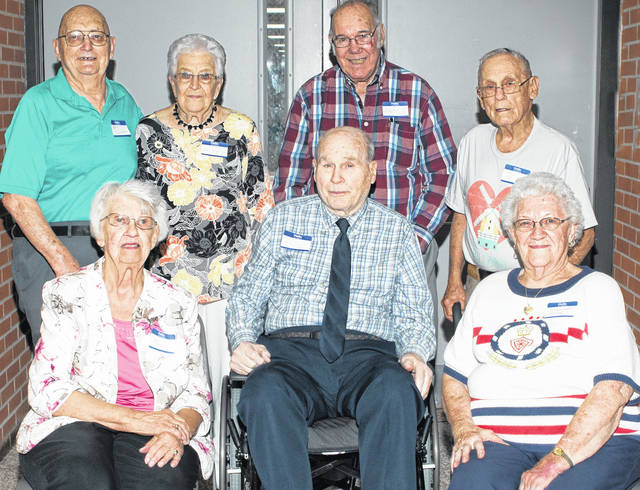 Eight members of the Cardington High School Class of 1949 were recognized on the 70th anniversary of their graduation during the recent Cardington-Lincoln High School Alumni banquet held May 25. Present were Martha Kanable DeBolt of Mandevllle, Louisiana; Wayne Mateer of Salisbury, North Carolina; Harold Bean, Mansfield; Gloria Weaver Williams, of Fulton; Doris Brown Burns, Marion and Fred Williamson, Clayton Brandum and Gene Davis, of Cardington. Each was given a memorabilia gift from the alumni committee. The class graduated on May 24, 1949 with 41 members. Each was given a memorabilia gift from the alumni committee.