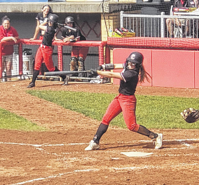Cardington's Kierson George scored her team's first run in their 5-2 win over West Jefferson in Thursday's Division III state semifinal softball game.