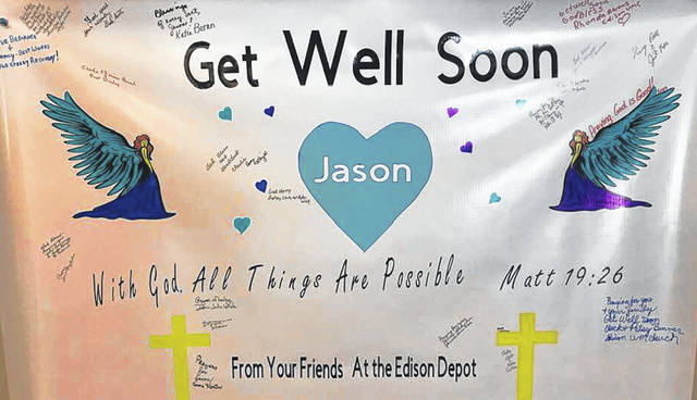 The Edison Depot is one of several local businesses stepping up to help Ohio State Highway Patrol Trooper Jason Phillips, who was injured last month by a wrong-way driver on Interstate-71. He is currently in the hospital in stable condition. The Edison Depot has a get well banner for Phillips. Recently Pizzaburg of Mount Gilead held a fund-raiser to help Phillips with medical bills. Ryliee Hobson, 9, made ribbons to sell with proceeds benefiting Phillips.