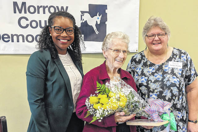 Ohio House of Representative Democratic Leader Emilia Sykes, left, with Honored Democrat Margaret Litt, and Democrat of the Year Susan Grundy.