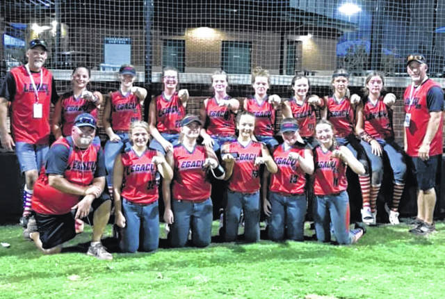 On the Legacy softball team that placed second in their national championship tournament were, back row (l-r): assistant coach Greg Parker, Isabel Sayre, Emma Bellamy, Jenna Riley, Maddie Simpson, Zoey Belcher, Kendell Poole, Aliza Wright, Leigh Johnson and head coach Travis Wright. Front row: assistant coach Mike Sandstrom, Angel Spayde, Mikaela Sandstrom, Trinity Garretson, Karli Staley and Alyssa Curry.