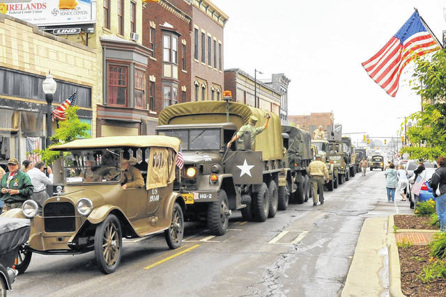 Photo courtesy Dick Cope This photo is of the 1919 convoy as it celebrated its 90th year. It passed through Galion in 2009. This photo is on Public Square.