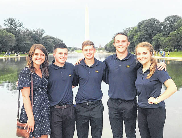 Erin Wollett, Cardington FFA advisor and teacher, Jacob Levering, Liam Warren, Brydon Ratliff and Grace Struck in Washington, D. C.