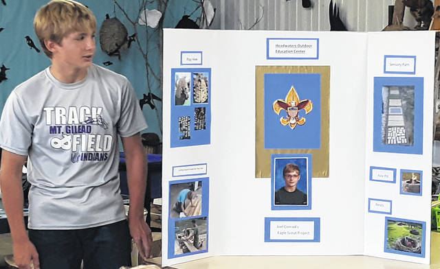 Joel Conrad displays his Eagle Scout project, a beehive playground for children, at the recent meeting of Chester Arbor of the Gleaners Life Insurance.