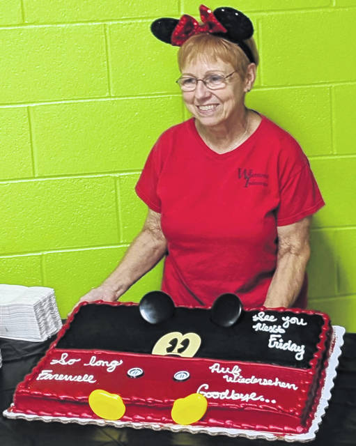 Maggie Clark at her retirement party from Whetstone Industries. She is retiring after 43 years at the Industries.