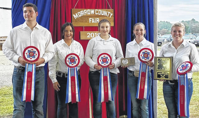 Morrow County Junior Fair competition. Shown are Elijah Leonhard, Madison Huntsman, Morgan Beck, Taylor Nelson, winner Taylor Stephen.