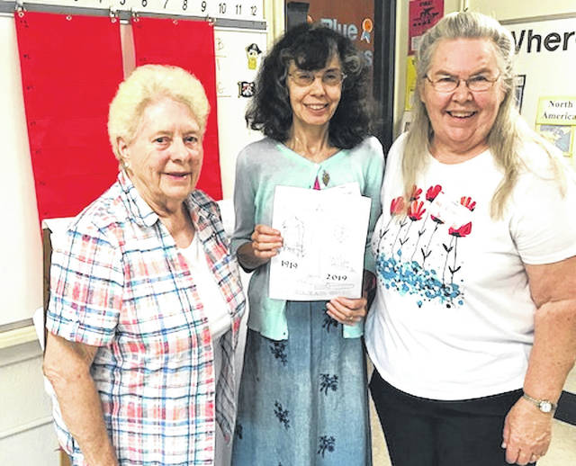These retired teachers, members of the Morrow County Historical Society presented a program on the Victory Shaft when they spoke to Cardington Third grade students recently. They are, from left: Phylis Miller, Janet Rhodebeck and Ellen McMurray.