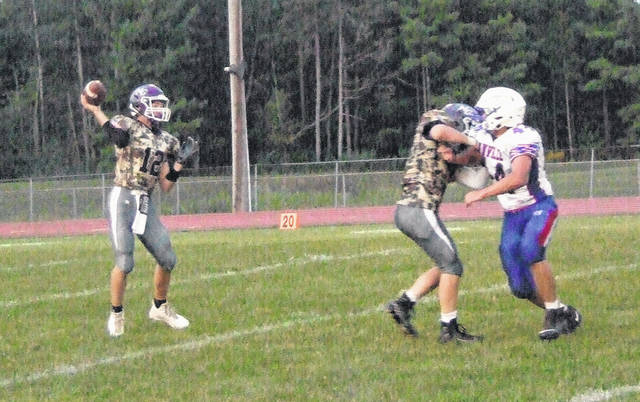 Mount Gilead's Joel Butterman prepares to throw a pass against the Danville defense in his team's 24-7 win on Friday.