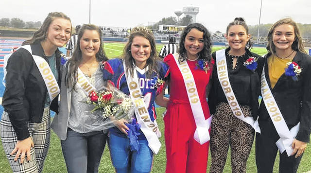 Girls on Highland Homecoming Court, from left: Kendall Stover, Haven Farson, Queen Riley Kemmer, Elizabeth Albertson, Darcie Walters, Juliette Laracuente.